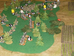 Russians trying to drive the Austrians out of the woods towards the supply line.