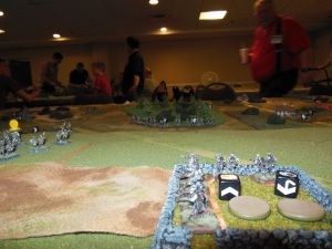 Facing down the Russians from light cover as they move towards the objectives.
