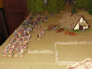 Original set up for game, rows of troops awaiting orders.
