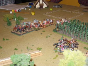 Garrie's peasants being hit from behind by Saxon cavalry.