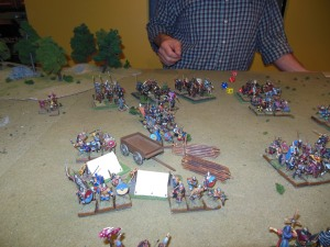 My cav attacking from the trees in George's rear being stopped by his commanders.