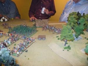 Turn 2 British peasants moving towards Saxon infantry.