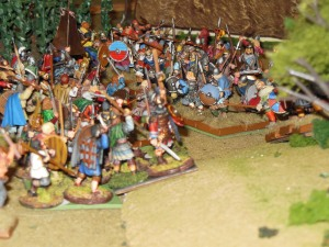 British peasants and elite soldiers meet head on with Saxon soldiers on turn 4