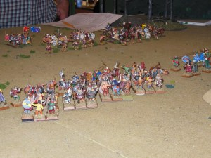 Screen of skirmishers in front of infantry formations.