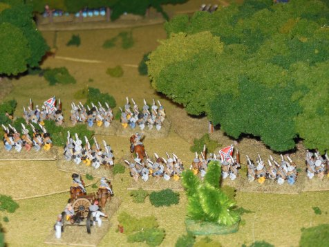 Confederates advance on right flank