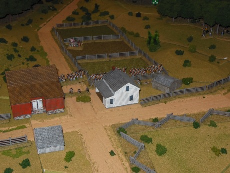 George loads his troops in the buildings in the center