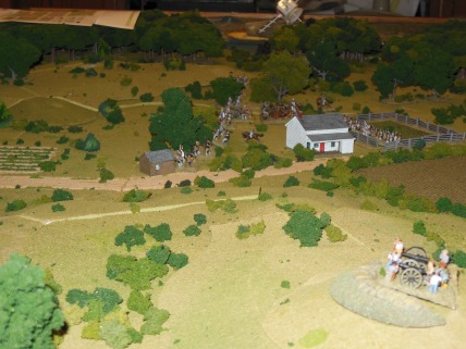 Confederates in front of white house objective and on the hill.