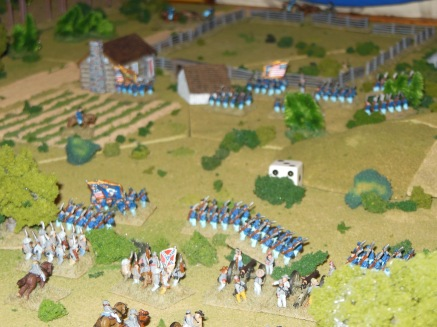 Ben's Union troops charge the center on turn 2.