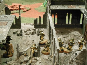 Moving through the building for the third objective the guardsman go bravely.