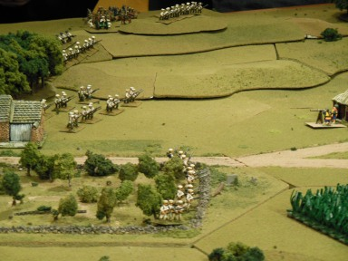 Japanese infantry in Orchard with Russian's on the hill