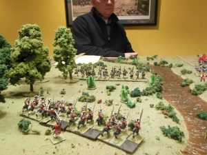 colonial troops holding up British flank attack