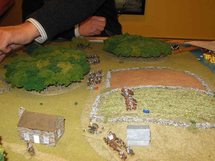 Cavalry battle on the right flank.