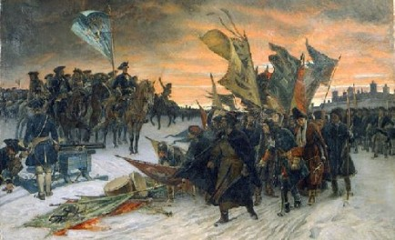 Painting by Gustaf Cederström surrender of colors by Russians