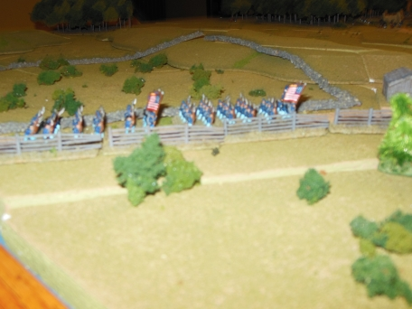 Union troops set off to defend the right flank