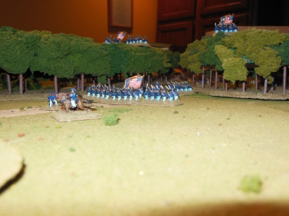 Defending the Right Flank road in the trees