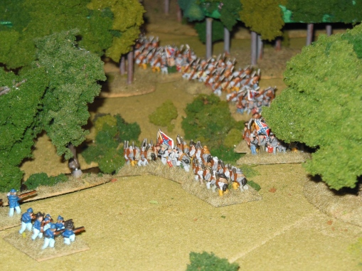 Confederate forces working around some of the dismounted cavalry