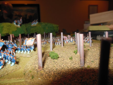 Union infantry hold up the Confederate attack on the right flank