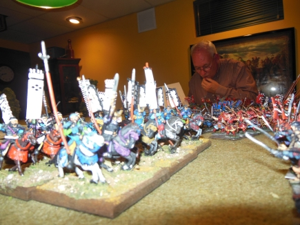 Facing Brian's mounted Samurai my troops will pay the piper now unless I get luck which I was not